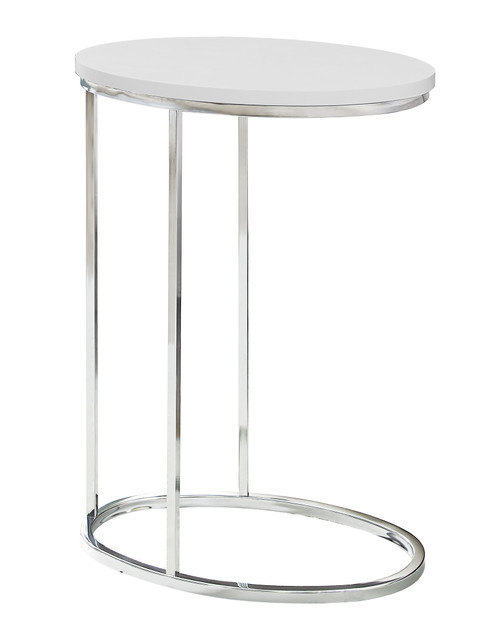 """25"""" White and Silver Contemporary Oval Accent Table - IMAGE 1"""