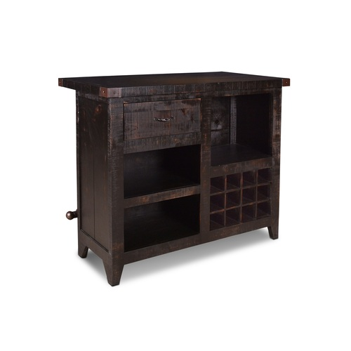 "42"" Dark Rust Color 12 Bottle Wine Bar with Storage - IMAGE 1"