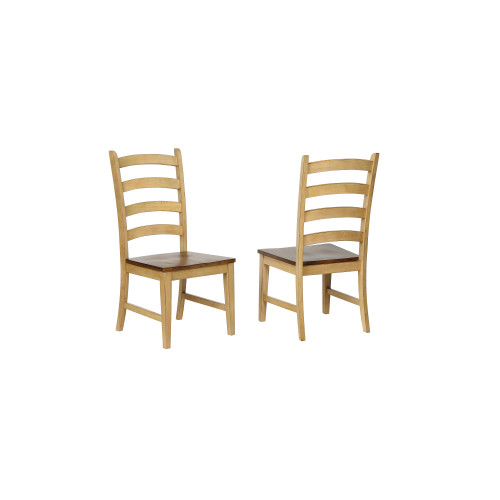 """Set of 2 Light Brown Handcrafted Wooden Ladder Back Dining Side Chairs 42"""" - IMAGE 1"""
