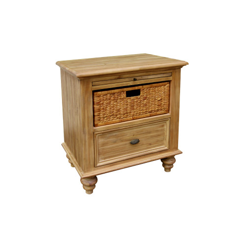 """28.25"""" Brown Vintage Casual Nightstand with Basket - IMAGE 1"""