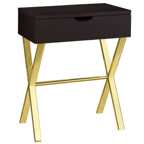 """22.25"""" Cappuccino Brown and Gold Contemporary Rectangular Accent Table - IMAGE 1"""