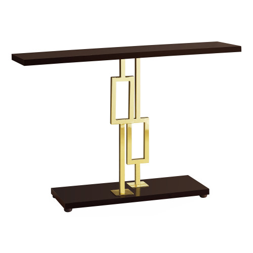 """47.25"""" Cappuccino Brown Rectangular Contemporary Gold Accent Table - IMAGE 1"""