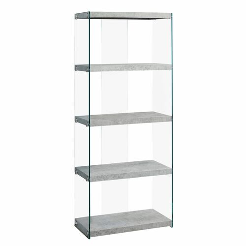 """58.75"""" Gray and Clear Contemporary with Four Shelves Rectangular Bookcase - IMAGE 1"""