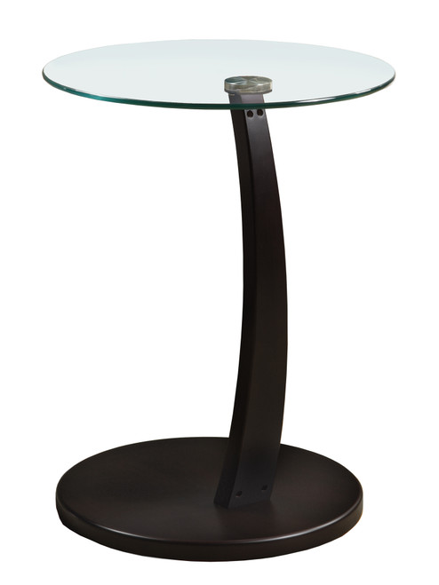 """24"""" Brown and Clear Contemporary Round Accent End Table - IMAGE 1"""