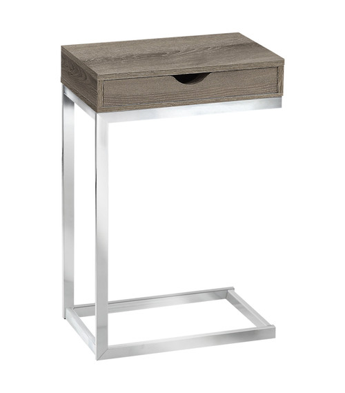 """24.5"""" Taupe Brown and Silver Contemporary Rectangular Accent Table - IMAGE 1"""