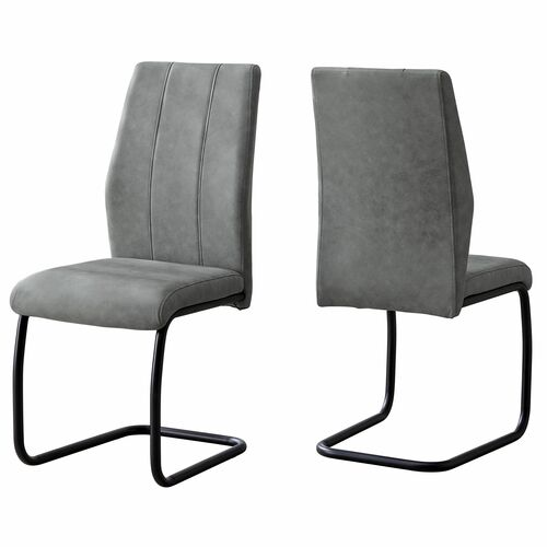"""Set of 2 Gray and Black Contemporary Dining Chairs 38.75"""" - IMAGE 1"""
