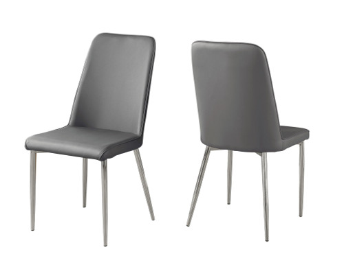 "Set of 2 Gray and Silver Contemporary Upholstered Dining Chairs 37"" - IMAGE 1"