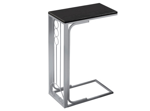 """24.5"""" Black and Silver Contemporary Rectangular Accent End Table - IMAGE 1"""