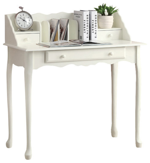 "38"" White Traditional French Inspired Secretary Desk - IMAGE 1"