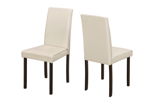 """Set of 2 Ivory and Brown Contemporary Upholstered Dining Chairs 36"""" - IMAGE 1"""
