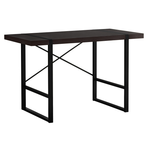 """49"""" Brown and Black Contemporary Rectangular Computer Desk - IMAGE 1"""