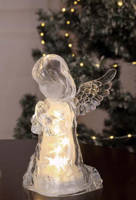 "Set of 2 Clear Contemporary Medium Golden Glitter Star Cherub Girl 10.25"" - IMAGE 1"