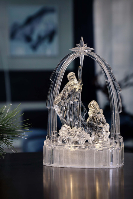 "Set of 2 Clear and Gold Arched Small Holy Family LED lighted Christmas Tabletop Decor 7.5"" - IMAGE 1"