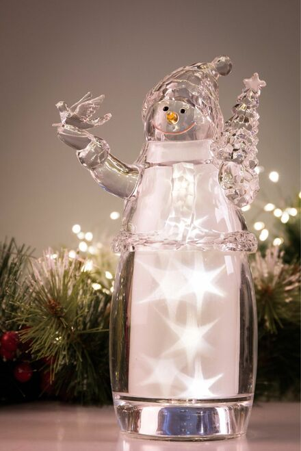 "Set of 2 Clear Star Snowman LED lighted Christmas Tabletop Decor 9.25"" - IMAGE 1"