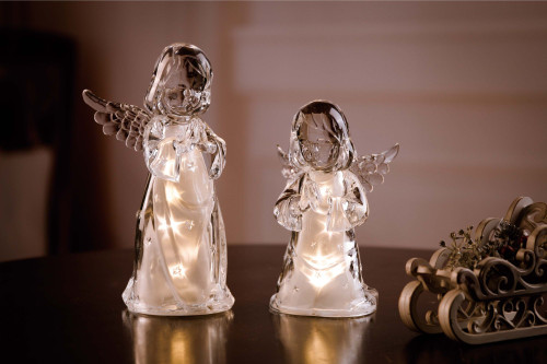 """Set of 4 Clear Contemporary Christmas Stars Cherubs with Golden Glitters 15.25"""" - IMAGE 1"""