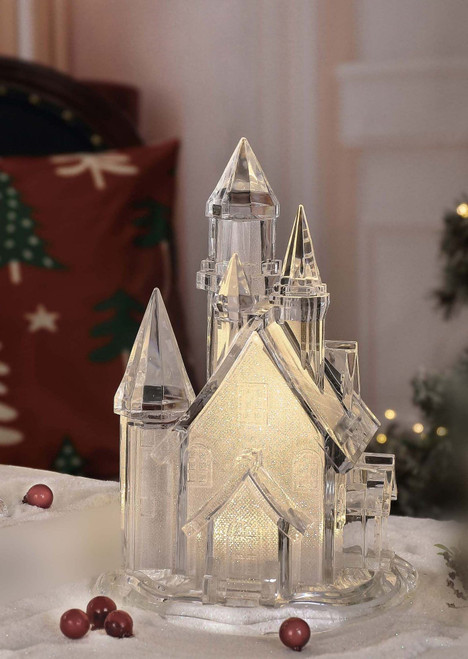 """Set of 2 Clear Contemporary Wide Golden Glitter Church Tabletop Decors 10"""" - IMAGE 1"""