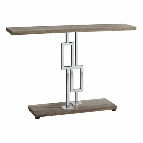 """47.25"""" Taupe Brown and Silver Contemporary Rectangular Accent Table - IMAGE 1"""