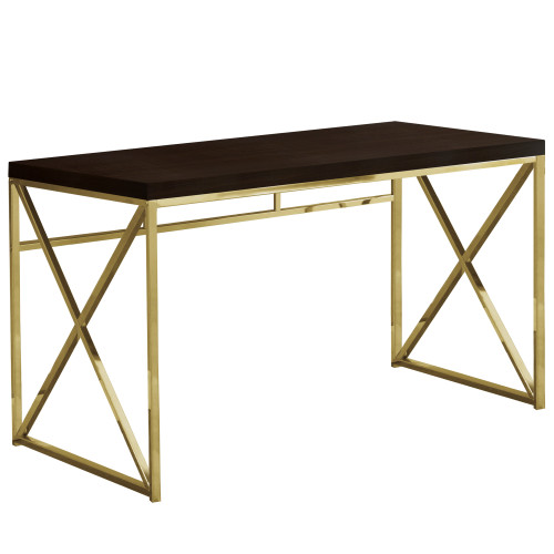 """47.25"""" Cappuccino Brown and Gold Contemporary Rectangular Computer Desk - IMAGE 1"""