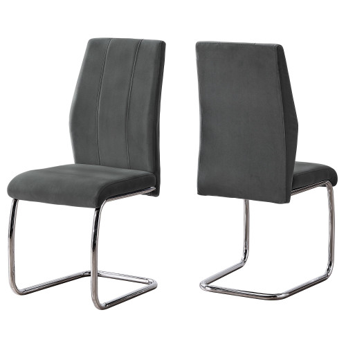 Set of 2 Gray and Silver Contemporary Velvet Dining Chair 38.75'' - IMAGE 1