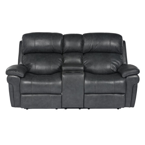 """77"""" Black Leather Reclining Loveseat with Power Headrest and Console - IMAGE 1"""