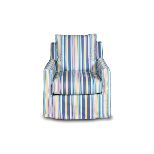 """35"""" Seaside Beach Blue Striped Fabric Swivel Chair with Track Arm - IMAGE 1"""