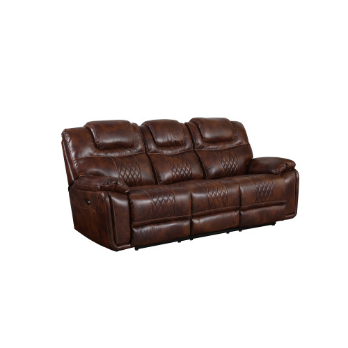 """41"""" Rich Brown Power Dual Reclining Sofa in Leather Gel - IMAGE 1"""