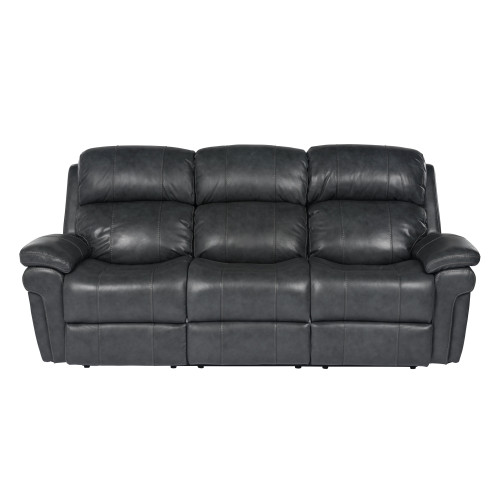 """89"""" Black Leather Reclining Sofa with Power Headrest - IMAGE 1"""