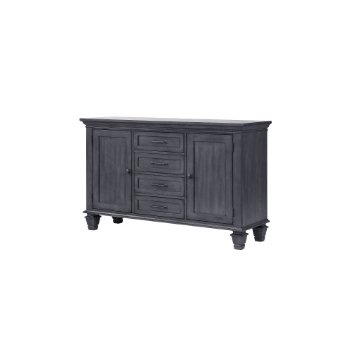 """58"""" Shades of Gray Handcrafted Wood Sideboard Buffet with Pewter Oval Knobs - IMAGE 1"""