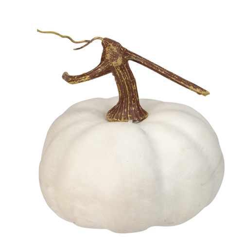 "6.5"" White Pumpkin Weighted Halloween Statue - IMAGE 1"
