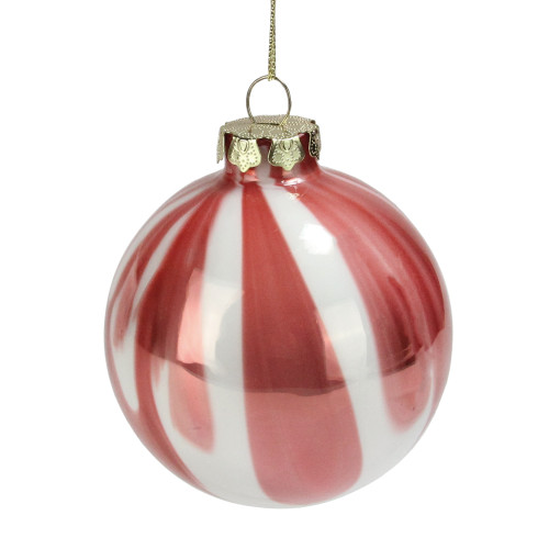 """Pink and White Marbled Glass Ball Christmas Ornament 3"""" (75mm) - IMAGE 1"""