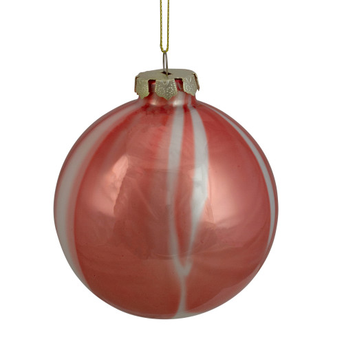 """4"""" Red and White Marbled Glass Christmas Ornament - IMAGE 1"""