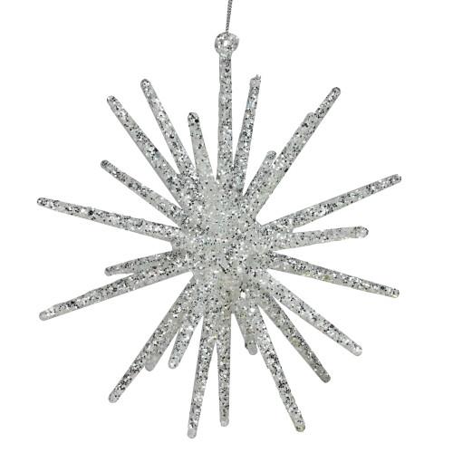 "12"" White and Silver Glitter Starburst Christmas Ornament - IMAGE 1"