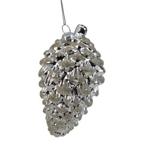 "5.25"" Silver Glass Pine Cone Christmas Ornament - IMAGE 1"