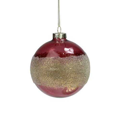 """4"""" Pink and Gold Glitter Frosted Glass Ball Christmas Ornament - IMAGE 1"""
