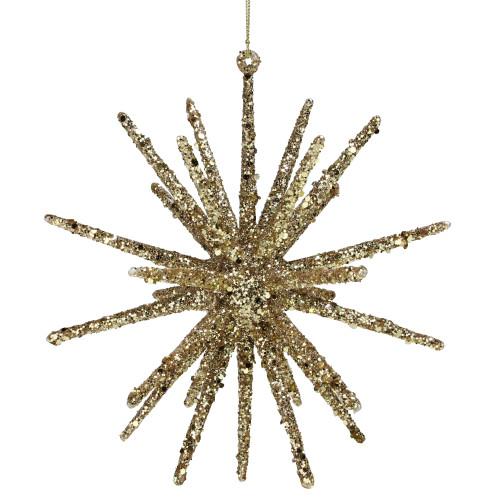 """8.25"""" Gold Glitter Starburst Christmas Ornament - IMAGE 1"""