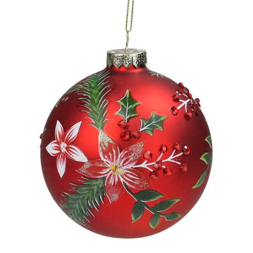 """4"""" Red Poinsettia and Jewel Holly Glass Ball Christmas Ornament - IMAGE 1"""