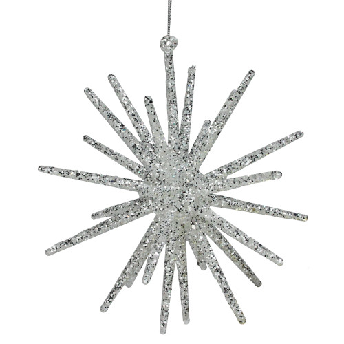 "8.25"" Silver Glittered Starburst Christmas Ornament - IMAGE 1"