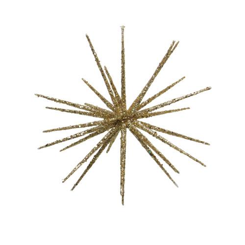 """12"""" Shimmering Gold Glitter Starburst Christmas Ornament - IMAGE 1"""