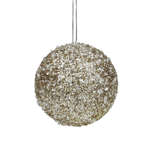 "4"" Champagne Gold Sequin Glitter Christmas Ball Ornament - IMAGE 1"