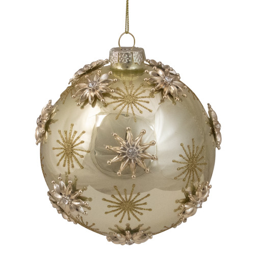 "Shiny Gold Starburst Glass Christmas Ball Ornament 4.5"" (50mm) - IMAGE 1"