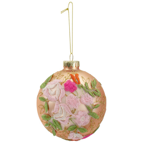 """2-Finish Pink Floral Applique Glass Christmas Ball Ornament 4"""" (100mm) - IMAGE 1"""
