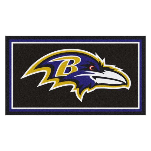 3' x 5' Black and Purple NFL Baltimore Ravens Rectangular Plush Area Throw Rug - IMAGE 1