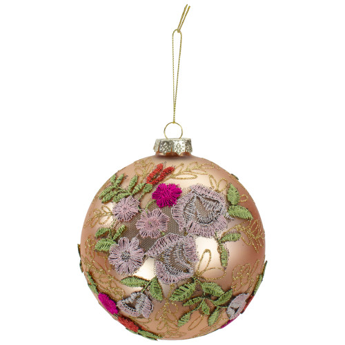 """4.5"""" Pink Floral Applique Glass Ball Christmas Ornament - IMAGE 1"""