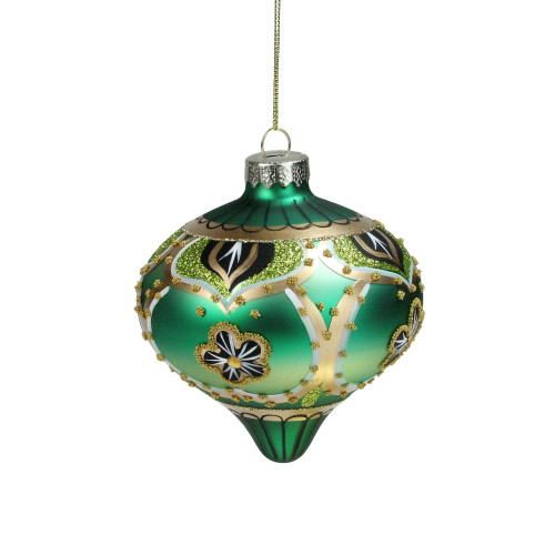 "4.5"" Green Gold Black Floral Bead and Jewel Glass Onion Christmas Ornament - IMAGE 1"