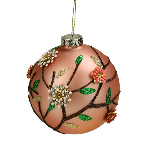 "4"" Beaded Floral Glass Ball Christmas Ornament - IMAGE 1"