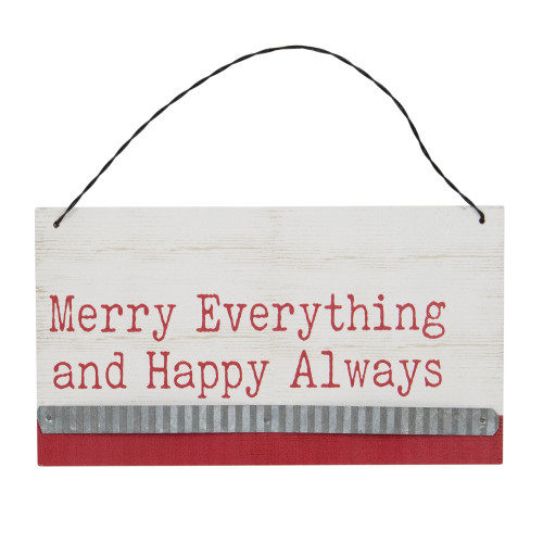 """8"""" Merry Everything Hanging Wooden Christmas Sign Ornament - IMAGE 1"""