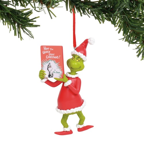 Department 56 Dr. Seuss Grinch with Book Christmas Tree Ornament #6011002 - IMAGE 1