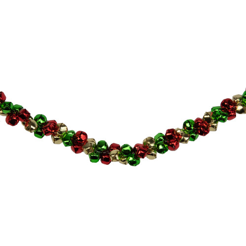 """5' x 1"""" Green and Red Festive Jingle Bell Artificial Christmas Garland - IMAGE 1"""