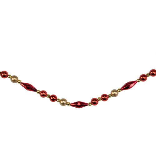 """9' x 0.5"""" Shiny and Matte Red Beaded Shatterproof Artificial Christmas Garland - Unlit - IMAGE 1"""