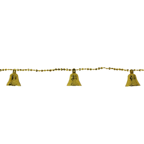 9' Northlight Shiny Gold Bell Beaded Artificial Christmas Garland Set - Unlit - IMAGE 1